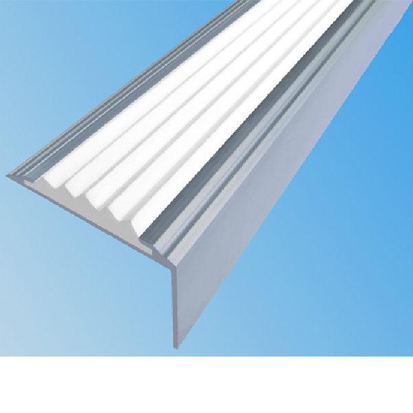 Противоскользящий алюминиевый самоклеющийся угол-порог Стандарт 38 мм 2,7 м белый