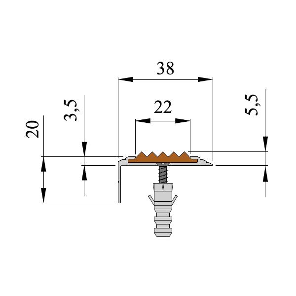 Противоскользящий алюминиевый самоклеющийся угол-порог Стандарт 38 мм 1,8 м желтый