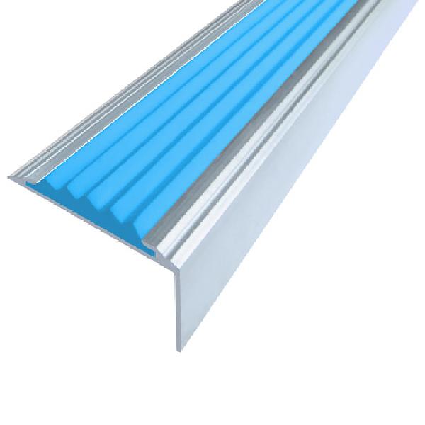 Противоскользящий алюминиевый самоклеющийся угол-порог Стандарт 38 мм 1,8 м голубой