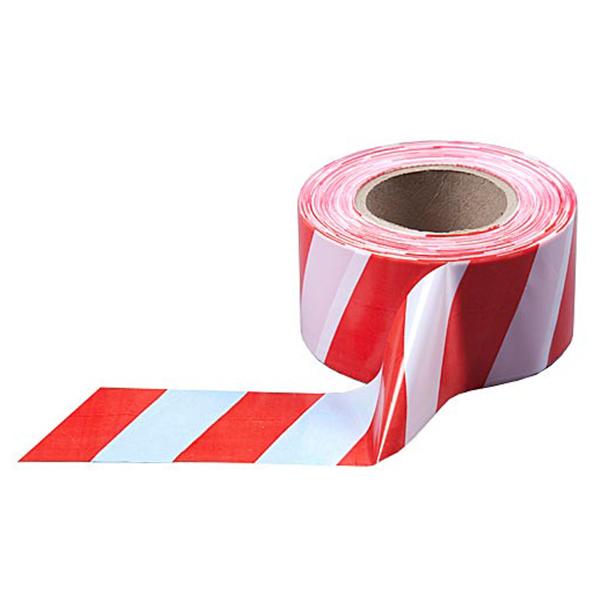 Сигнальная лента из ПЭ для ограждений 75мм х 250м, бело-красный, 5 шт