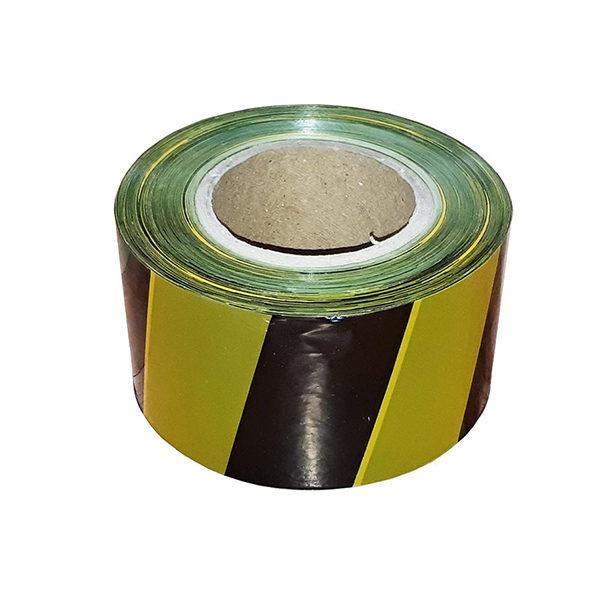 Сигнальная лента из ПЭ для ограждений 75мм х 500м, желто-черный, 5 шт