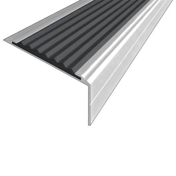 Противоскользящий алюминиевый угол-порог Премиум 50 мм 1,5 м черный