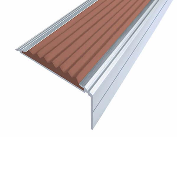 Противоскользящий алюминиевый угол-порог Премиум 50 мм 1,0 м коричневый