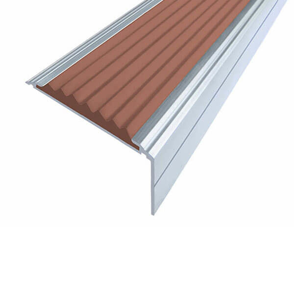 Противоскользящий алюминиевый угол-порог Премиум 50 мм 3,0 м коричневый