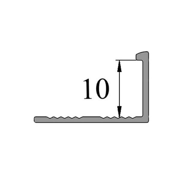 Алюминиевый профиль для L-образной окантовки L-10-СГ серебро/глянцевый