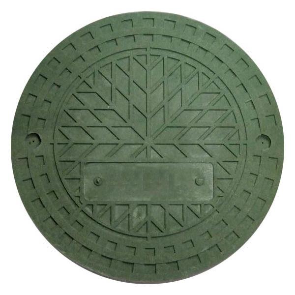 Люк полимерпесчаный для дренажного колодца 425 мм, зеленый