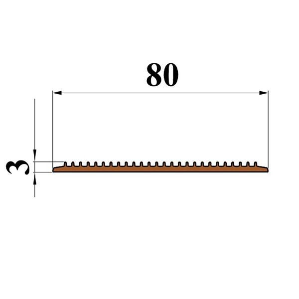 Противоскользящая тактильная направляющая самоклеющаяся полоса 80 мм, 10 м темно-коричневый