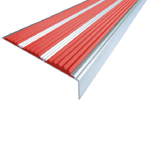 Противоскользящий алюминиевый угол с тремя вставками 98 мм/5,6 мм/22,4 мм 3,0 м красный