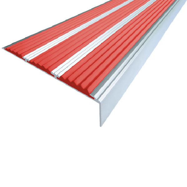 Противоскользящий алюминиевый угол с тремя вставками 98 мм/5,6 мм/22,4 мм 2,0 м красный