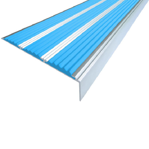 Противоскользящий алюминиевый угол с тремя вставками 98 мм/5,6 мм/22,4 мм 1,33 м голубой