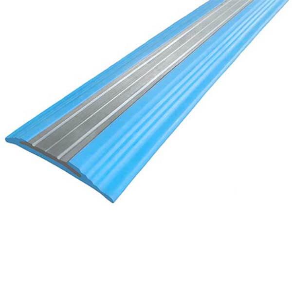 Противоскользящая анодированная алюминиевая полоса NoSlipper 2,7 м голубой