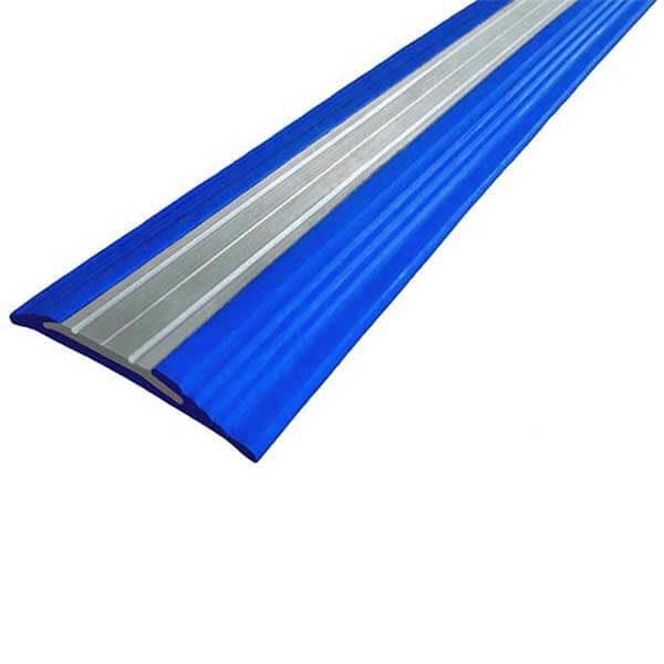 Противоскользящая анодированная алюминиевая полоса NoSlipper 2,7 м синий