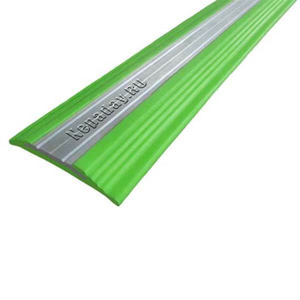Противоскользящая анодированная алюминиевая полоса NoSlipper 2,7 м зеленый