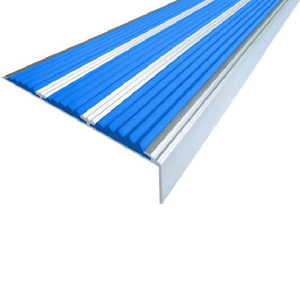 Противоскользящий алюминиевый самоклеющийся угол с тремя вставками 98 мм/5,6 мм/22,4 мм 1,33 м синий