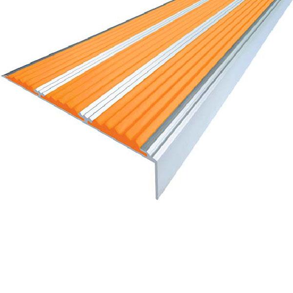 Противоскользящий алюминиевый самоклеющийся угол с тремя вставками 98 мм/5,6 мм/22,4 мм 1,33 м оранж