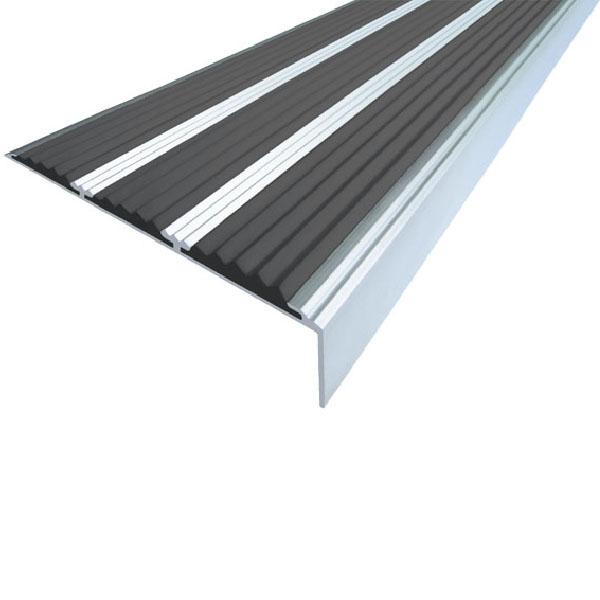 Противоскользящий алюминиевый самоклеющийся угол с тремя вставками 98 мм/5,6 мм/22,4 мм 1,0 м черный