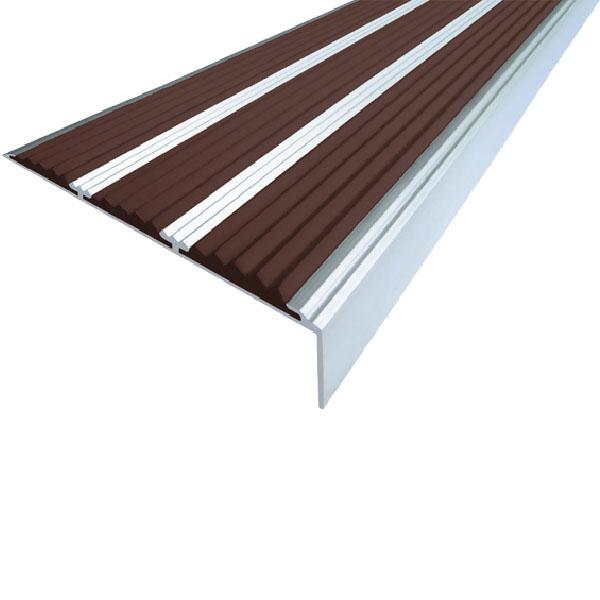 Противоскользящий алюминиевый самоклеющийся угол с тремя вставками 98 мм/5,6 мм/22,4 мм 1,0 м темно-коричневый