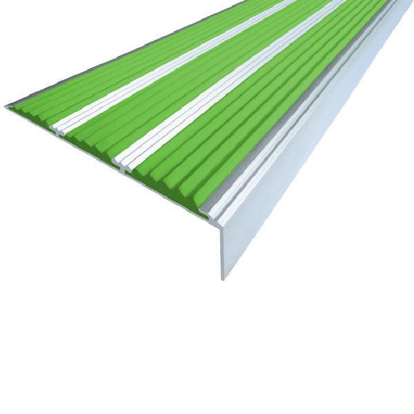Противоскользящий алюминиевый самоклеющийся угол с тремя вставками 98 мм/5,6 мм/22,4 мм 1,0 м зелены