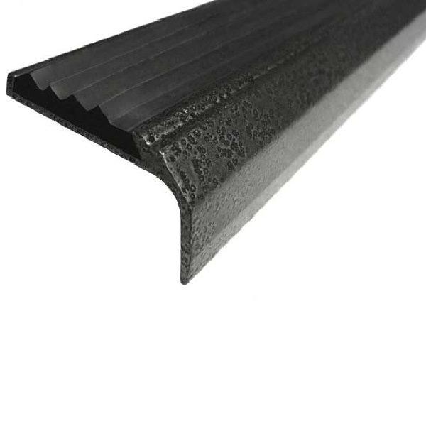 Противоскользящий алюминиевый окрашенный накладной угол-порог 42 мм/23 мм 3,0 м серебро