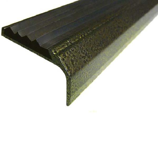 Противоскользящий алюминиевый окрашенный накладной угол-порог 42 мм/23 мм 3,0 м бронза