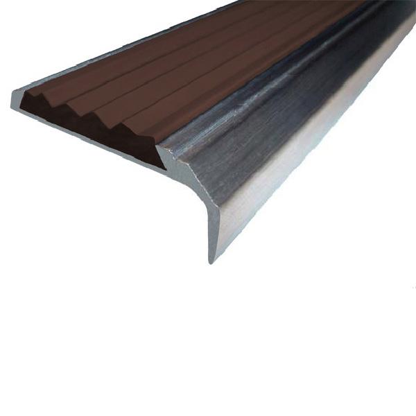 Противоскользящий алюминиевый самоклеющийся накладной угол-порог 42 мм/23 мм 3,0 м темно-коричневый