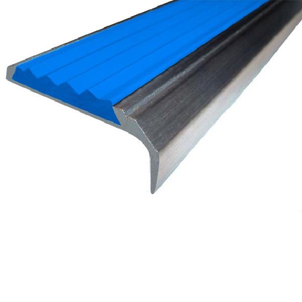 Противоскользящий алюминиевый самоклеющийся накладной угол-порог 42 мм/23 мм 3,0 м синий