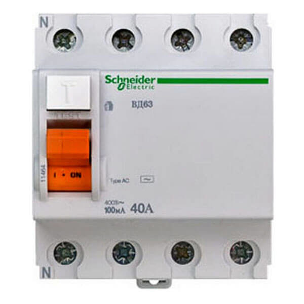 УЗО Schneider Electric Домовой ВД63 4P 40А 100мА класс AC