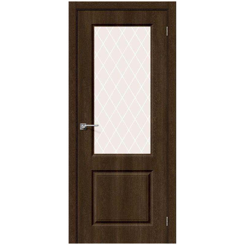 Межкомнатная дверь Скинни-13, Dark Barnwood, White Сrystal