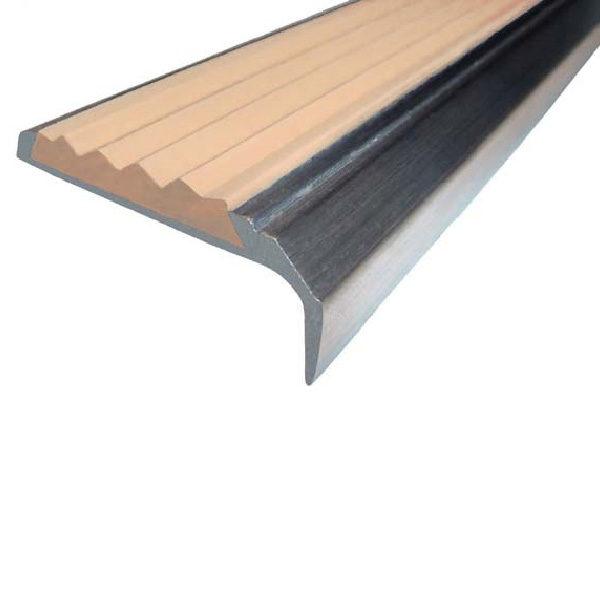 Противоскользящий алюминиевый самоклеющийся накладной угол-порог 42 мм/23 мм 3,0 м бежевый
