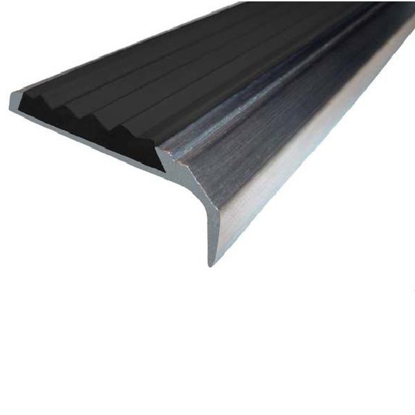 Противоскользящий алюминиевый самоклеющийся накладной угол-порог 42 мм/23 мм 2,0 м черный