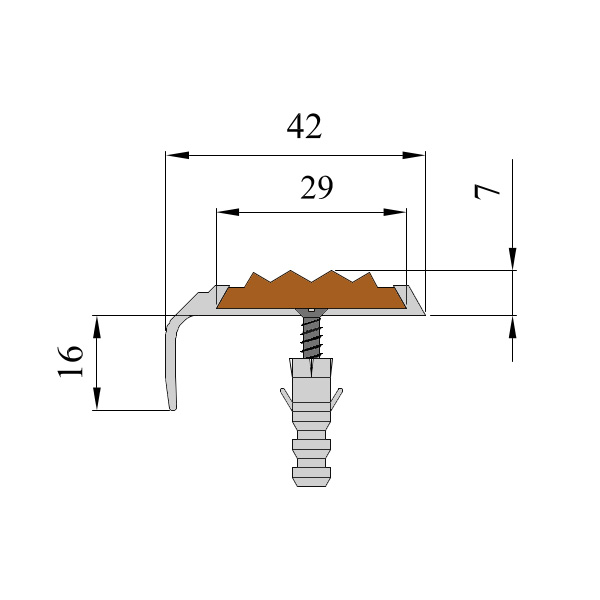 Противоскользящий алюминиевый самоклеющийся накладной угол-порог 42 мм/23 мм 2,0 м оранжевый