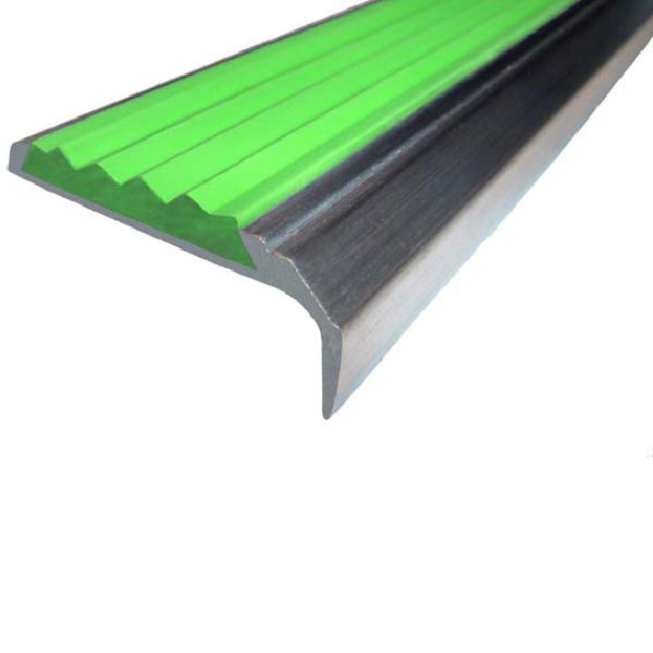 Противоскользящий алюминиевый самоклеющийся накладной угол-порог 42 мм/23 мм 2,0 м зеленый