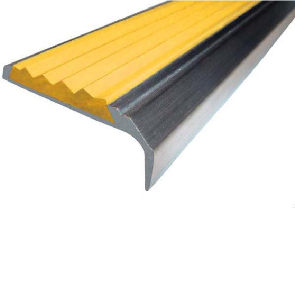 Противоскользящий алюминиевый самоклеющийся накладной угол-порог 42 мм/23 мм 2,0 м желтый