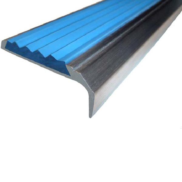 Противоскользящий алюминиевый самоклеющийся накладной угол-порог 42 мм/23 мм 2,0 м голубой