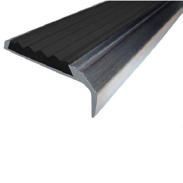 Противоскользящий алюминиевый самоклеющийся накладной угол-порог 42 мм/23 мм 1,33 м черный