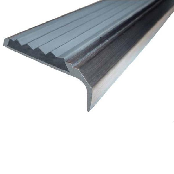 Противоскользящий алюминиевый самоклеющийся накладной угол-порог 42 мм/23 мм 1,33 м серый