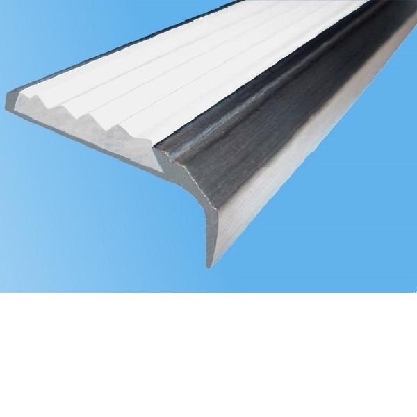 Противоскользящий алюминиевый самоклеющийся накладной угол-порог 42 мм/23 мм 1,0 м белый
