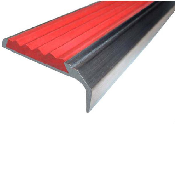 Противоскользящий алюминиевый накладной угол-порог 42 мм/23 мм 3,0 м красный