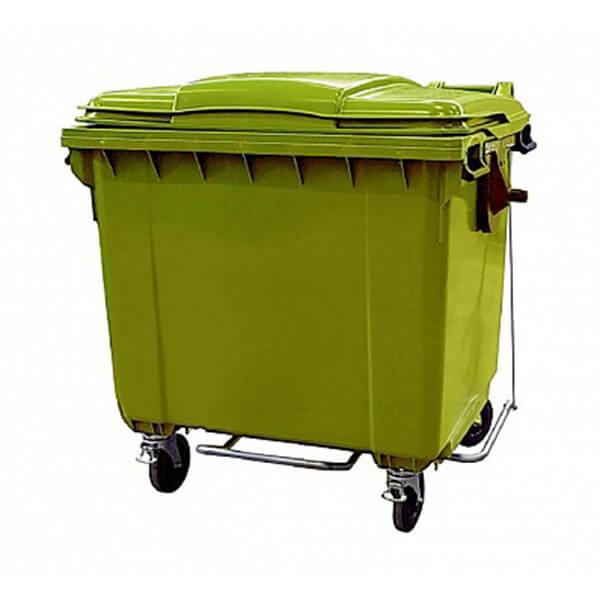 Контейнер для мусора 1100 л с крышкой, педалью