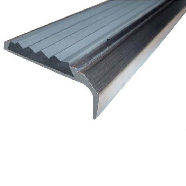 Противоскользящий алюминиевый накладной угол-порог 42 мм/23 мм 1,33 м серый