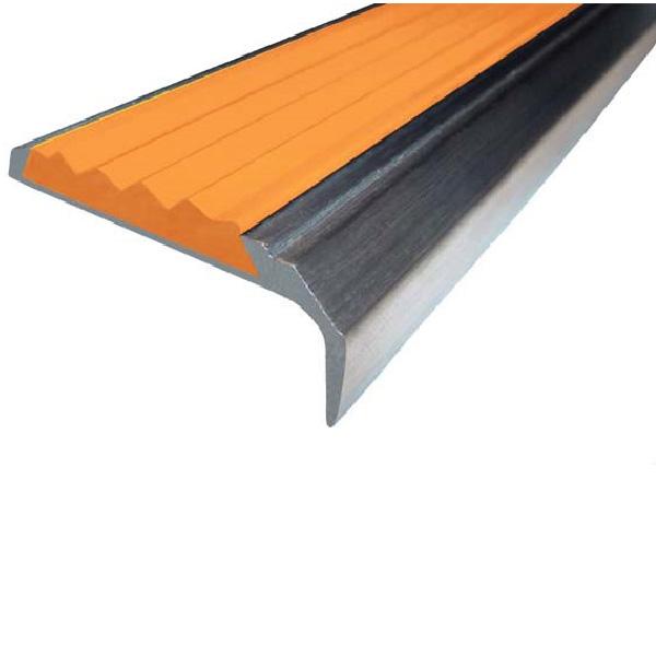 Противоскользящий алюминиевый накладной угол-порог 42 мм/23 мм 1,33 м оранжевый
