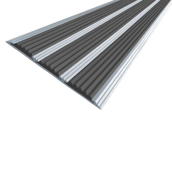 Противоскользящая алюминиевая самоклеющаяся полоса с тремя вставками 100 мм/5,6 мм 3,0 м черный