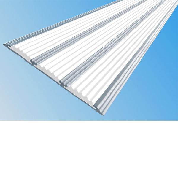 Противоскользящая алюминиевая самоклеющаяся полоса с тремя вставками 100 мм/5,6 мм 3,0 м белый
