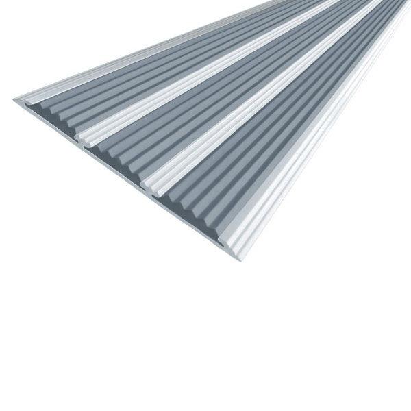 Противоскользящая алюминиевая самоклеющаяся полоса с тремя вставками 100 мм/5,6 мм 2,0 м серый