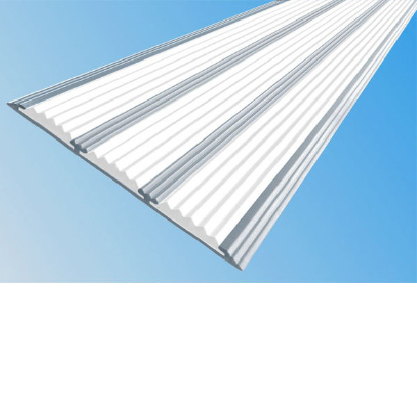 Противоскользящая алюминиевая самоклеющаяся полоса с тремя вставками 100 мм/5,6 мм 2,0 м белый