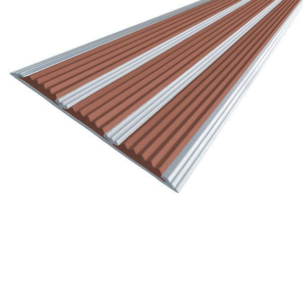 Противоскользящая алюминиевая самоклеющаяся полоса с тремя вставками 100 мм/5,6 мм 1,33 м коричневый