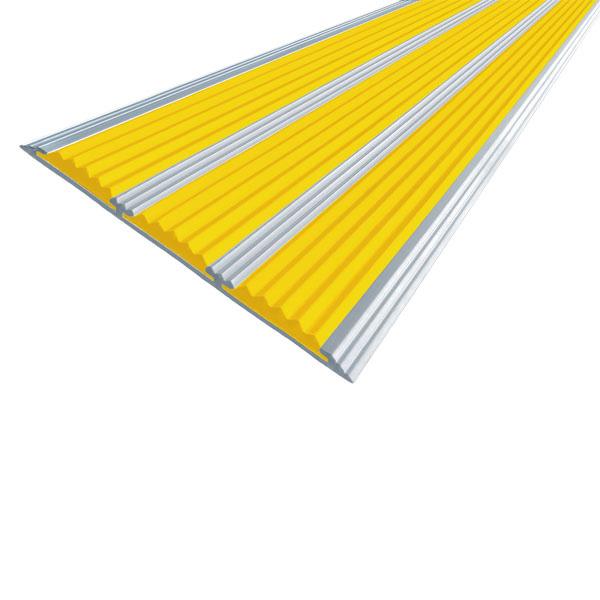 Противоскользящая алюминиевая самоклеющаяся полоса с тремя вставками 100 мм/5,6 мм 1,33 м желтый