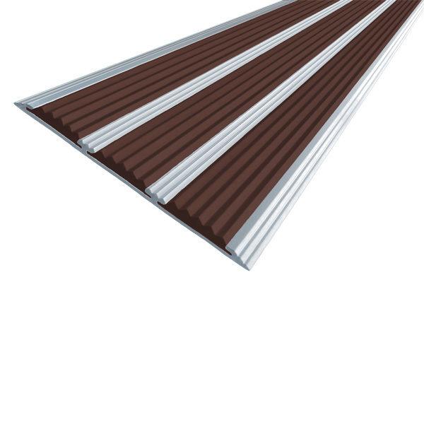 Противоскользящая алюминиевая самоклеющаяся полоса с тремя вставками 100 мм/5,6 мм 1,0 м темно-корич