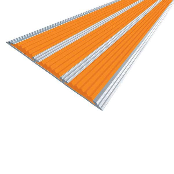 Противоскользящая алюминиевая самоклеющаяся полоса с тремя вставками 100 мм/5,6 мм 1,0 м оранжевый