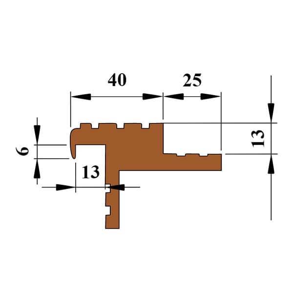 """Закладной противоскользящий профиль """"Безопасный Шаг Премиум"""" (БШ-40) коричневый"""